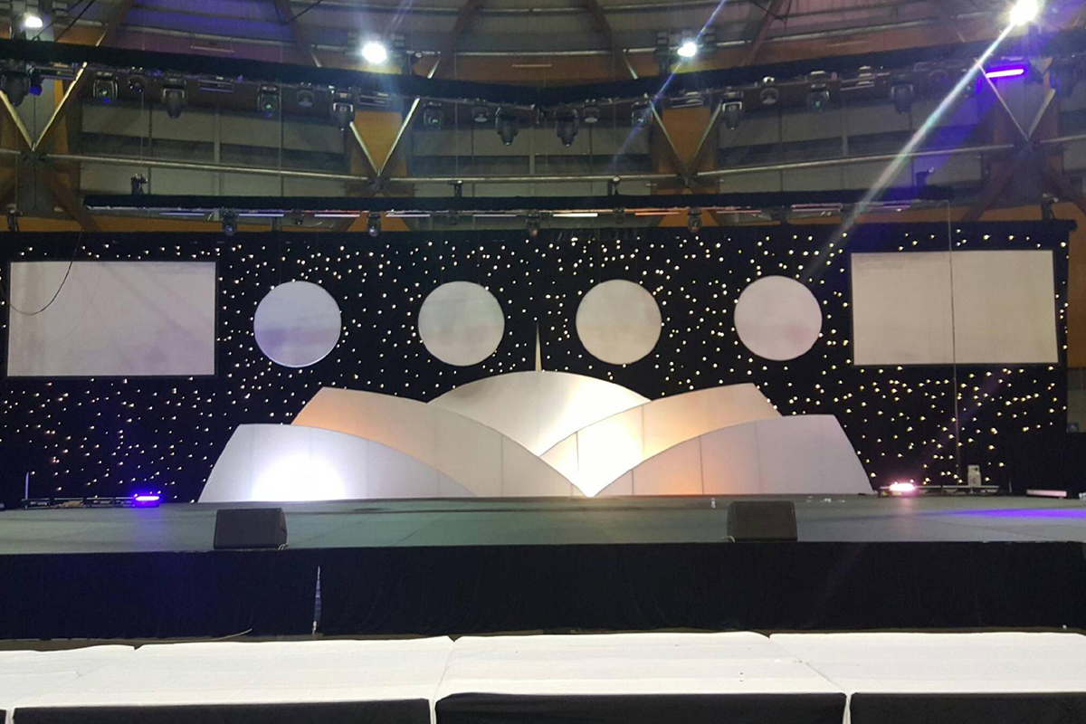 Complete White Stage set with projection mapping erated by Fabricated